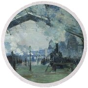 Arrival Of The Normandy Train Gare Saint-lazare Round Beach Towel by Claude Monet