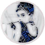Audrey Hepburn Breakfast At Tiffany's Quotes Round Beach Towel