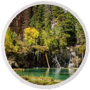 Autumn At Hanging Lake Waterfall - Glenwood Canyon Colorado Round Beach Towel by Brian Harig