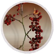 Round Beach Towel featuring the photograph Autumn Leafs And Red Berries by David French