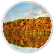 Round Beach Towel featuring the photograph Autumn Reflections by Rod Best