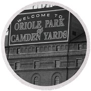 Baltimore Orioles Park At Camden Yards Bw Round Beach Towel