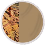 Round Beach Towel featuring the photograph Bands Of Color In Valley Of Fire by Ray Mathis