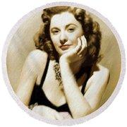 Barbara Stanwyck, Vintage Actress Round Beach Towel