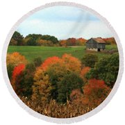 Round Beach Towel featuring the photograph Barn On Autumn Hillside by Angela Rath