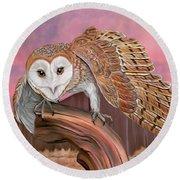 Barn Owl Round Beach Towel