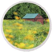 Barn Stony Brook New York Round Beach Towel