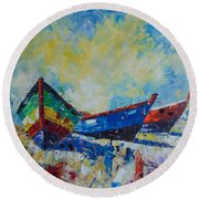 Barques De Provence Round Beach Towel
