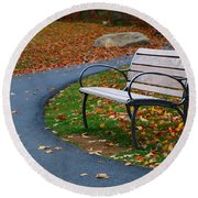 Round Beach Towel featuring the photograph Bench On The Walk by Rick Morgan