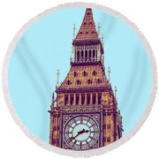 Big Ben Tower, London  Round Beach Towel by Asar Studios