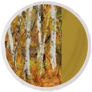 Birch Trees In Autumn Round Beach Towel