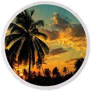 Blazing Sunset Round Beach Towel