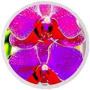 2 Blossoms Abstract Round Beach Towel by M Diane Bonaparte