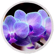 Blue Orchids Round Beach Towel
