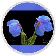 Blue Poppies Round Beach Towel by Jeannie Rhode