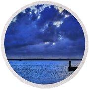 Blue Sunset Round Beach Towel