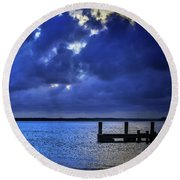 Blue Sunset Round Beach Towel