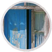 Blue Window Round Beach Towel