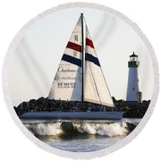 2 Boats Approach Round Beach Towel by Marilyn Hunt