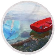 2 Boats  Round Beach Towel