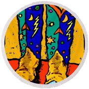 Boots On Yellow Round Beach Towel