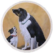 Border Collie Wisdom Round Beach Towel