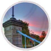 Round Beach Towel featuring the photograph Boston Public Garden Lagoon Bridge by Joann Vitali