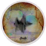 Breathe Spoken Soundwave Round Beach Towel by Marvin Blaine