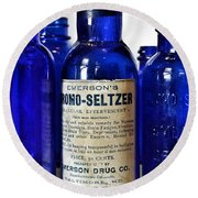 Bromo Seltzer Vintage Glass Bottles Collection Round Beach Towel