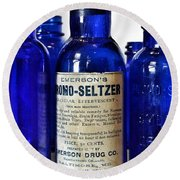 Bromo Seltzer Vintage Glass Bottles Collection Round Beach Towel