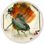 Bugs And Blooms Album Round Beach Towel