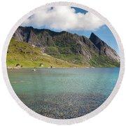 Bunesfjord And Mountains Round Beach Towel