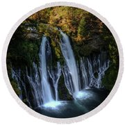 Round Beach Towel featuring the photograph Burney Falls by Kelly Wade