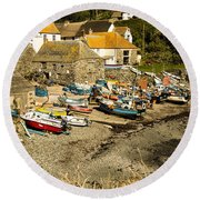 Round Beach Towel featuring the photograph Cadgwith Cove by Brian Roscorla