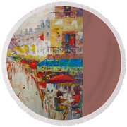 Cafe De Paris Round Beach Towel