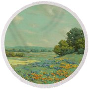 California Poppy Field Round Beach Towel