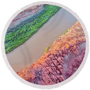 Canyon Of Colorado River - Sunrise Aerial View Round Beach Towel