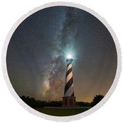 Cape Hatteras Lighthouse Milky Way Round Beach Towel by Michael Ver Sprill