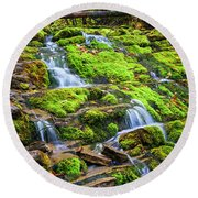 Round Beach Towel featuring the photograph Cascading Waterfall by Elena Elisseeva
