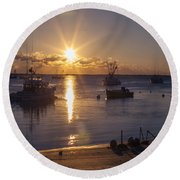 Round Beach Towel featuring the photograph Chatham Sunrise by Charles Harden