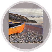 Chesil Beach Round Beach Towel
