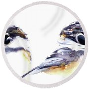Round Beach Towel featuring the painting 2 Chickadees by Dawn Derman