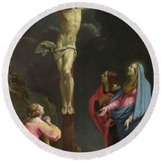 Christ On The Cross With The Virgin And Saints Round Beach Towel