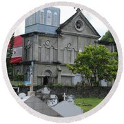 Round Beach Towel featuring the photograph Church by Gary Wonning