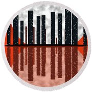 City Skyline At Full Moon Round Beach Towel by Michal Boubin