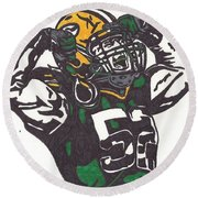 Round Beach Towel featuring the drawing Clay Matthews 2 by Jeremiah Colley