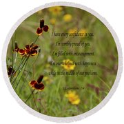 Round Beach Towel featuring the photograph 2 Corinthians 7 V 4 by Debby Pueschel