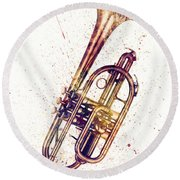 Cornet Abstract Watercolor Round Beach Towel