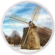 Round Beach Towel featuring the photograph Corwith Windmill Long Island Ny Cii by Susan Candelario