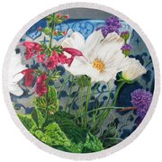 Round Beach Towel featuring the painting Cosmos by Karen Ilari